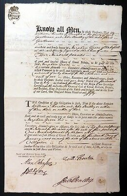 "GB 1750 ""Know All Men"" Pair of Documents with Embossed ""Blind on White"" BE174"