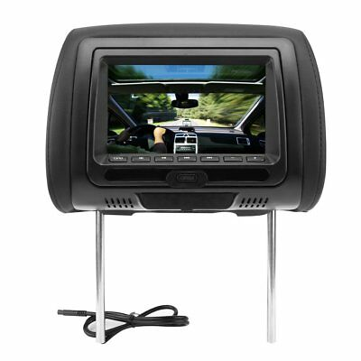 """PAIRS 7"""" Headrest Monitor Black Leather w/ DVD Player Game USB/HDMI/FM + Remote"""