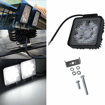 2x LED Flood Beam 27W Work Lights Lamp Tractor SUV Truck Boat 4WD 12V Square QK