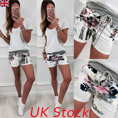 UK Women High Waist Floral Lace Up Shorts Ladies Summer Trousers Pants Size 6-14