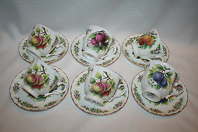 Crown Trent Fine Bone China Staffordshire England Fruit Cup & Saucer Set Of 6
