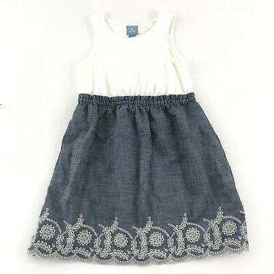 61e239593c4 Baby Gap Girl 4T Dress Chambray Toddler Eyelet Embrodery White Blue 100%  Cotton