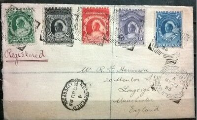 Niger Coast Protectotate QV Stamps on HCV Cover to England - Opobo Postmark