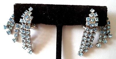 "Stunning Vintage Estate High End Blue Rhinestone 1 3/8"" Clip Earrings!!! G6821L"