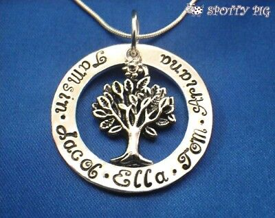 Personalised Necklace Family Tree of Life Names, Gift Present, Gran Mother