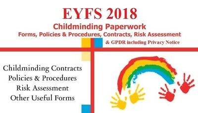 EYFS 2018 Childminder FULL Paperwork, Contracts, Policy and GDPR+Privacy Notice