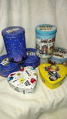 M&M's Lot Of 7 Miscellaneous Tins