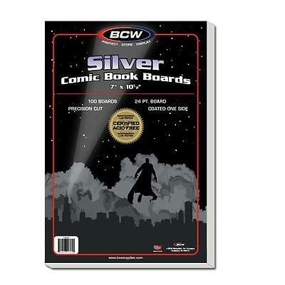 """1 Pack of 100 BCW Brand Silver Age Comic Book 7"""" Backing Backer Boards"""