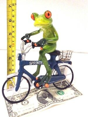 Frog on a Bicycle 6.75'' Tall