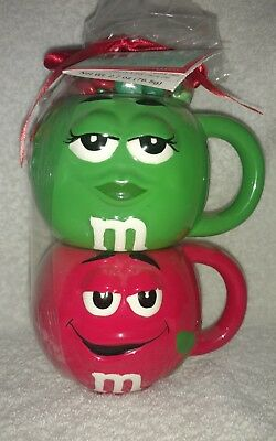 M&M's Red & Green Stackable Ceramic Christmas Mugs