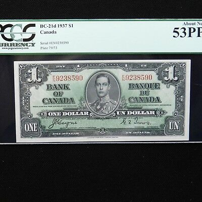 1937 Canada $1, BC-21d, PCGS 53 PPQ  About New