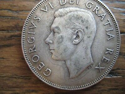 King George VI 1949 50 Cents Coin 80% Silver Very Good Condition