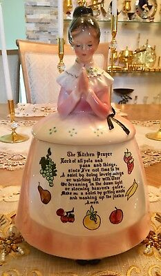 Vintage Enesco Mother In The Kitchen Prayer Girl Lady Pink Cookie Jar - Mint!