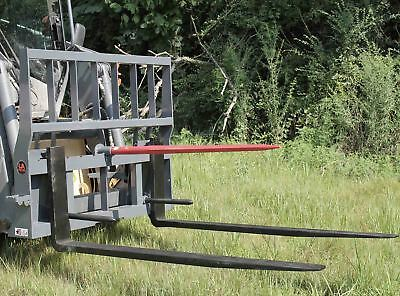 "United Hay Bale Spear Pallet Fork Skid Steer Quick Attach Attachment 42"" Blades"