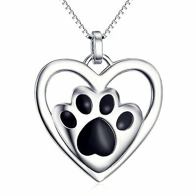 925 Sterling Silver Puppy Paw Pet Love Heart Pendant Necklace,18 inch Box Chain