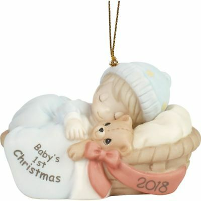 """Precious Moments """"Baby's First Christmas 2018"""" Dated Porcelain Ornament, Boy"""