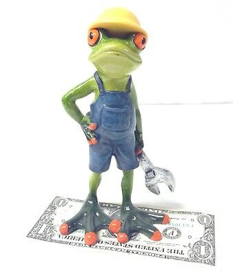 Frog with Wrench Figurine 6.75'' Tall Hard Hat Overalls Working Frog