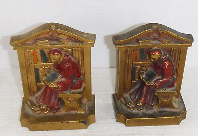 Vintage 1920s Cast Studying Monk Cardinal in Library Bookends  LV Aronson  Deco