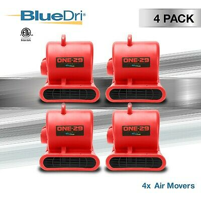 4 Pack BlueDri™ ONE-29 Air Mover Carpet Dryer Blower Fan High CFM Low Amp RED