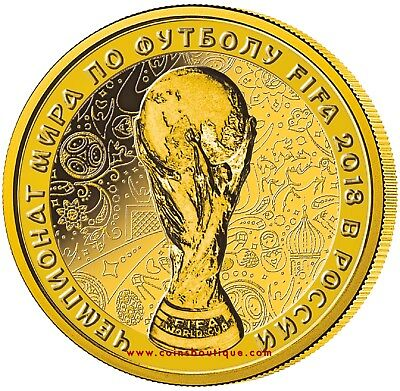 FIFA-WORLD CUP Gold Proof Coin RUSSIA 2018 with COA and BOX licensed product