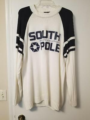 57ab9be186 VINTAGE SOUTHPOLE SOUTH Pole White Blue Sweater Mens Size L -  7.99 ...