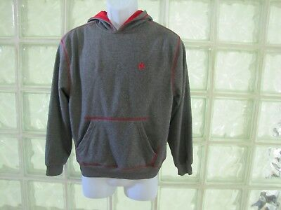 Champion Authentic Youth Gray Red Pullover Hoodie Sewn Embroidered Size Large