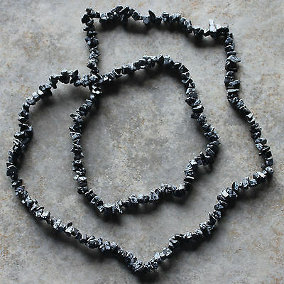 "Black White Snowflake Obsidian Chip Loose Beads 35"" Strand"