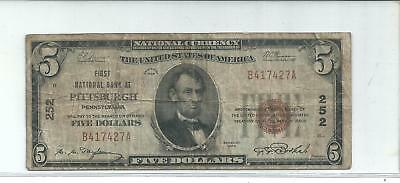 1929 $5 Dollar National Currency Note. First National Bank Of Pittsburgh.