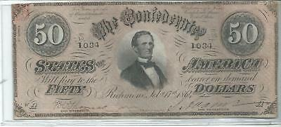 1864 $50 Dollar Civil War Currency Note. Really Good Shape !