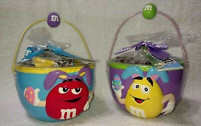 M&M's Ceramic Easter Bowls -Red & Yellow Characters With Bunny Ears & Handles