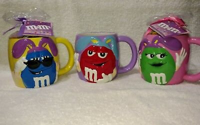 M&M's Ceramic Easter Blue, Red & Green Characters With Bunny Ears  Coffee Mugs.