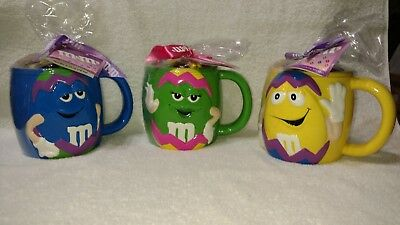 M&M's Ceramic Easter Blue, Green & Yellow Characters  Coffee Mugs