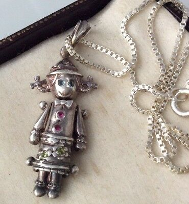 Vintage Jewellery Adorable Sterling Silver Rag Doll Pendant Necklace, Rubies