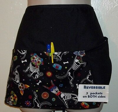 Black reversible Dogs Sugar Skulls waitress server waist apron 3 pockets