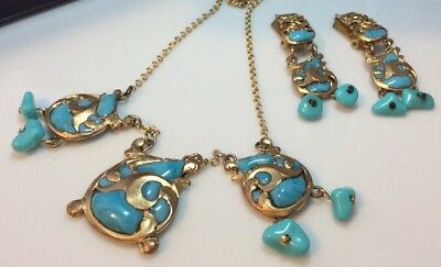 Vintage jewellery stunning melted glass turquoise necklace & pendant earrings