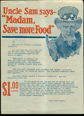 """1920's Uncle Sam """"Madam,Save more Food"""" Ideal Fireless Cookstove Mailer"""