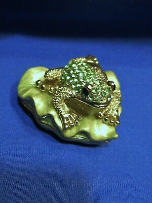 Green Rhinestones and Goldtone Metal Frog on Enameled Lily Pad Mini Trinket Box