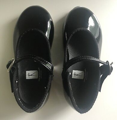 Revolution Dancewear Toddler Black Patent Tap Shoes Size 8.5 6.5 *See Size Chart