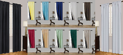 Tom 1Pc Solid Black Liner Absolute Blackout Window Curtain Treatment Thermal