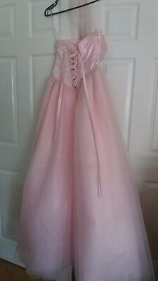 Pastel Pink Sequin Prom Dress Ball Gown & Wrap - Lace Corset Style - UK SIZE 10