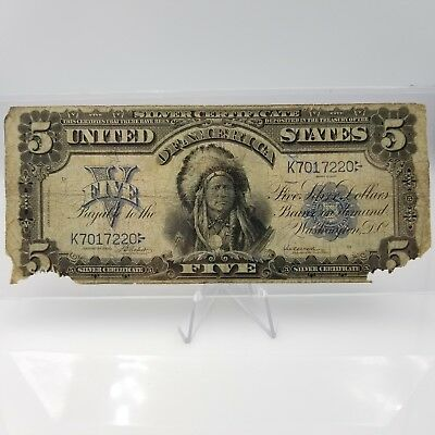 * 1899 $5 INDIAN CHIEF Silver Certificate FR# 275 Five Dollar Large Note