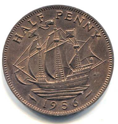Great Britain 1956 Half Penny Coin - United Kingdom England Queen Elizabeth II