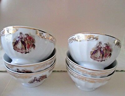 F D Chauvingny French Vintage Porcelain Set Of 6 Cafe' Au Lait Bowls *New* Rare
