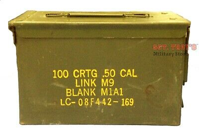 .50 CALIBER 5.56mm Military AMMO CAN M2A1 50CAL METAL AMMO CAN BOX VERY GOOD