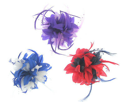 Hair Fascinator clip, Weddings, Races,Prom red/navy-purple/lilac-blue/white