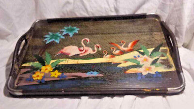 Vintage Hand Painted Pink Flamingo Serving Tray Made Wood & Metal