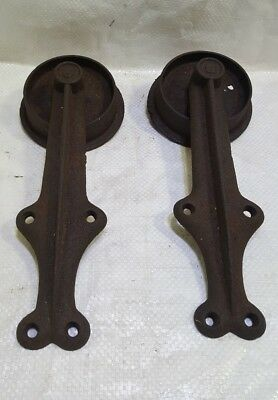 "Vintage Antique Cast Iron Barn Door  Rollers Hardware Hangers Sliding 6"" Wheels"