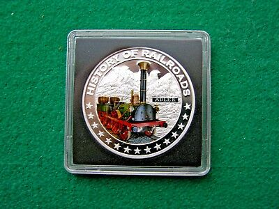 """Liberia $5 Dollars,  """" ADLER""""""""-HISTORY OF RAILROADS  Silver Proof Coin, 2011"""