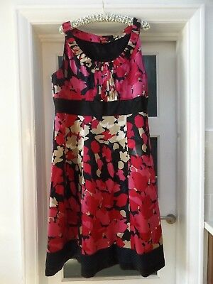 Monsoon swishy silk size 22 prom formal evening party dress pink black worn once
