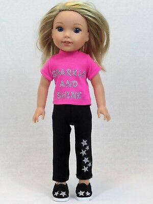 "Sparkle and Shine Pink Pant Set Fits Wellie Wishers 14.5"" American Girl Clothes"